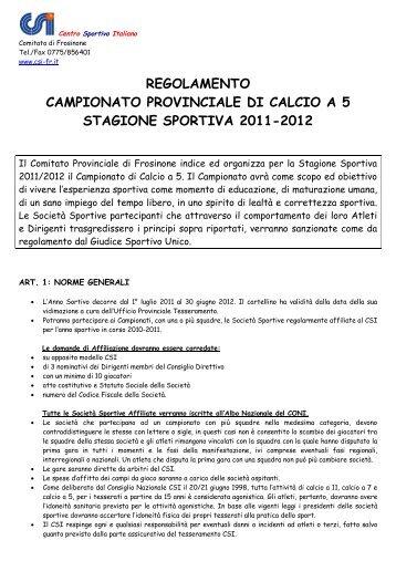 Regolamento Campionato di calcio a 5 - CSI