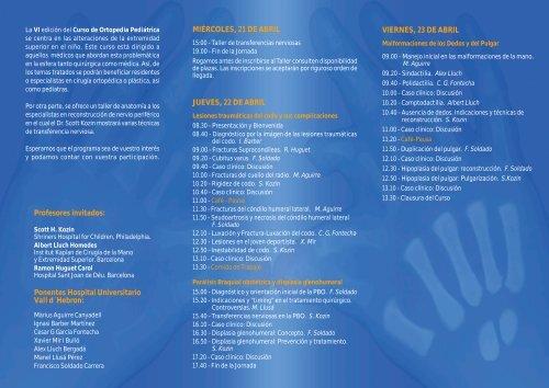 Programa - Ortopedia y Traumatología Pediátrica