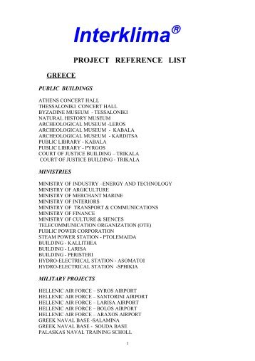 project reference list greece
