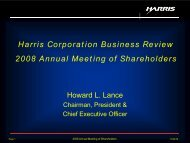 Harris Corporation Business Review 2008 Annual Meeting of ...