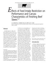 Effects of Feed Intake Restriction on Performance and Carcass ...
