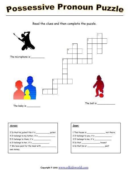 Possessive pronouns puzzle worksheet - ESL Kids World
