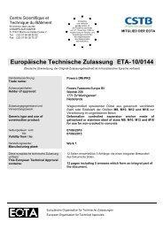 ETA-10/0144 - bei Powers Europe