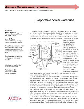 Evaporative cooler water use - University of Arizona