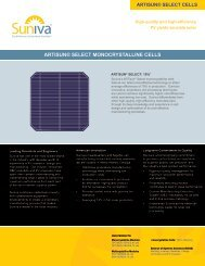 ARTISUN® SELECT MONOCRYSTALLINE CELLS - Suniva