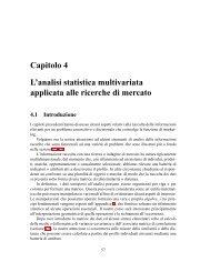 Capitolo 4 L'analisi statistica multivariata applicata alle ricerche di ...