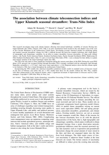 The association between climate teleconnection indices and Upper ...