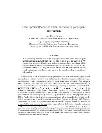 Class specificity and the lexical encoding of participant information ...