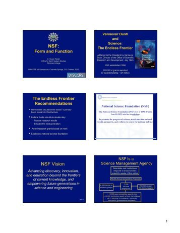 NSF Overview (pdf) - DISCCRS