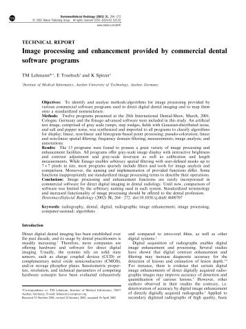 Image processing and enhancement provided by commercial dental ...