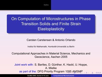 On Computation of Microstructures in Phase Transition Solids and ...