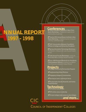 Annual Report 1997-1998 - The Council of Independent Colleges
