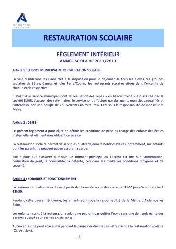 Téléchargez le réglement intérieur de la ... - Mairie d'Andernos