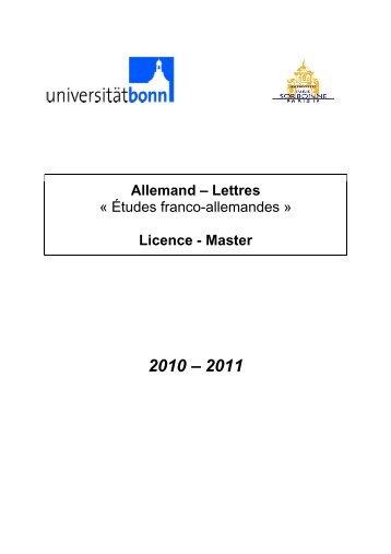 Allemand – Lettres « Études franco-allemandes » Licence - Master