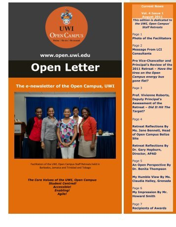 Open Letter Volume 4 August 2011 - Open Campus - Uwi.edu