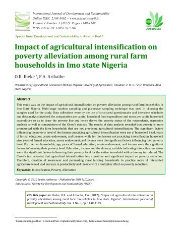 Impact of agricultural intensification on poverty alleviation among ...