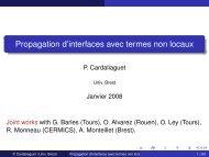 Propagation d'interfaces avec termes non locaux - Collège de France