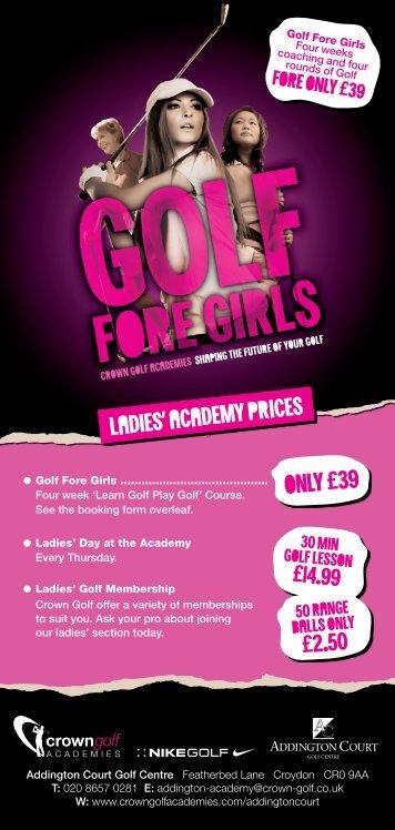 CG=Addington Golf Fore Girls Price DL=Aug12 v7.indd