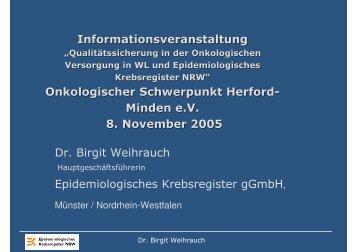 Dr. B. Weihrauch - Krebsregister NRW