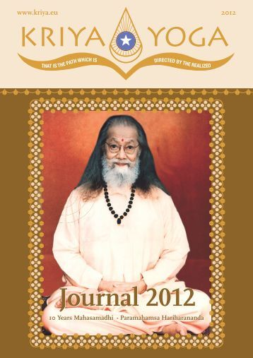 Journal 2012 Journal 2012 - Kriya Yoga Institute