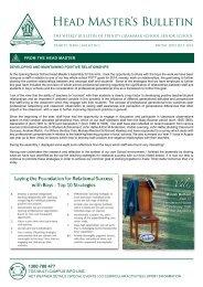 Head Master's Bulletin - Trinity Grammar School