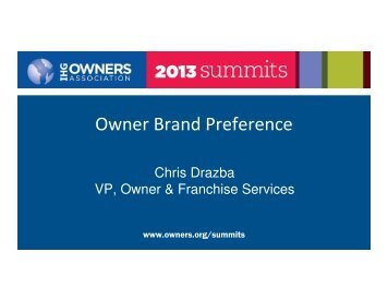 Owner Brand Preference - IHG Owners Association
