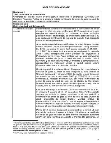 1 NOTĂ DE FUNDAMENTARE Secţiunea 1 Titlul proiectului de act ...