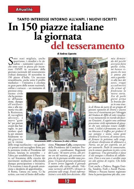 ANPI: in 150 piazze italiane la giornata del tesseramento di Andrea ...