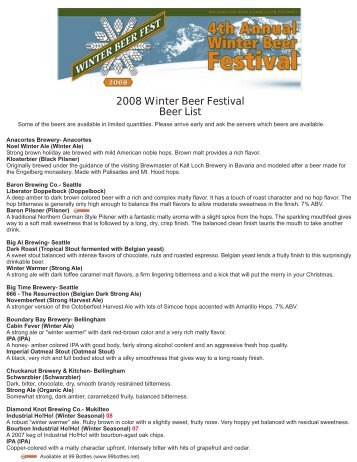 2008 Winter Beer Festival Beer List - Washington Beer Commission