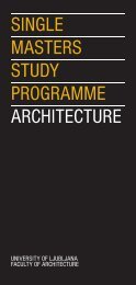SINGLE MASTERS STUDY PROGRAMME ARCHITECTURE