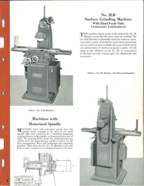 Brown & Sharpe nos. 2l and 2lb Surface Grinder Brochure - Sterling ...