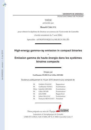 Emission gamma de haute énergie dans les systèmes binaires ...