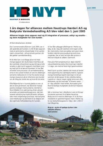 1 års dagen for alliancen mellem Haustrups Hærderi A/S og ... - Dansk