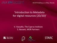 'Introduction to Metadata for digital resources (2D/3D)' - LinkSCEEM