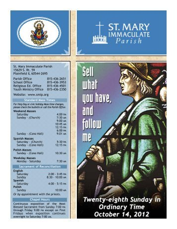 Twenty-eighth Sunday in Ordinary Time October 14, 2012 - St Mary ...