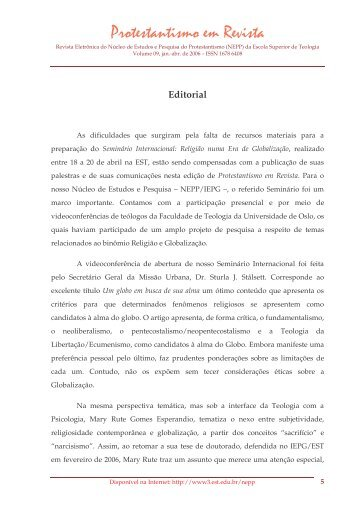 Editorial - Faculdades EST