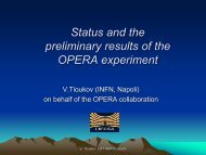 Status and the preliminary results of the OPERA experiment - Infn