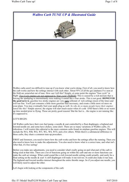 Walbro Carb TUNE UP & Illustrated Guide - RC Universe