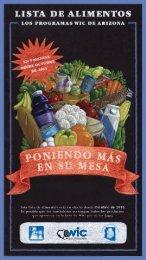 Lista de Alimentos los Programas WIC de Arizona