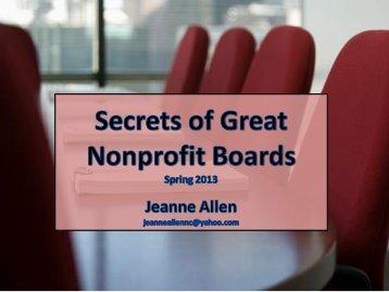 Secrets of Great Nonprofit Boards