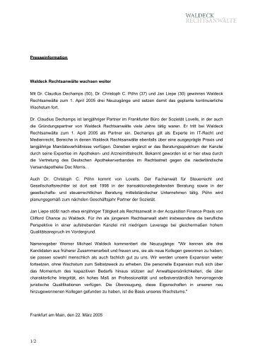 Presseinformation als PDF-Datei - Waldeck Rechtsanwälte ...