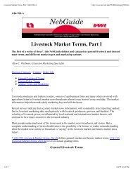 Livestock Market Terms, Part I