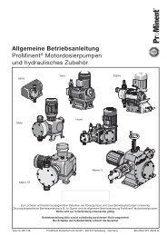Allgemeine Betriebsanleitung - ProMinent