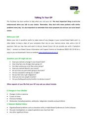 This factsheet has been written to help when you ... - Bowel Cancer UK