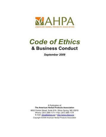 Code of Ethics - American Herbal Products Association