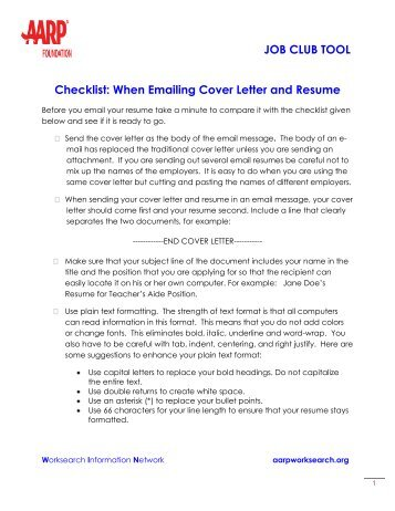 When Emailing Cover Letter And Resume   AARP WorkSearch  Emailing A Cover Letter And Resume
