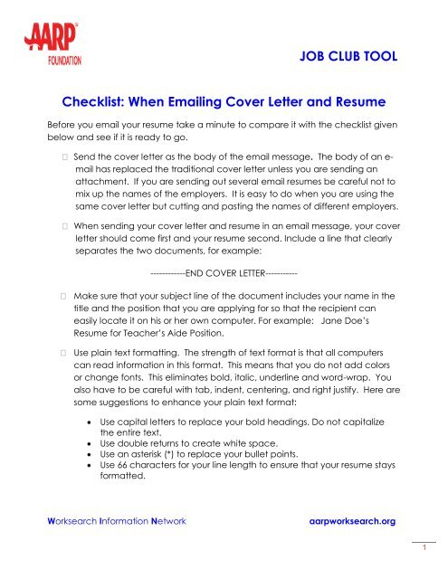 When Emailing Cover Letter and Resume - AARP WorkSearch