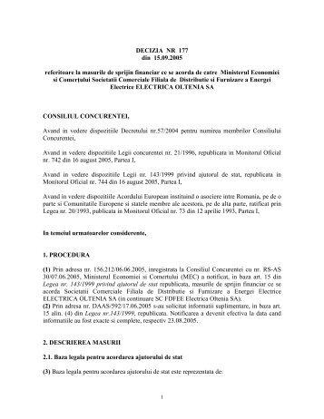 DECIZIA NR 177 din 15.09.2005 - Reteaua Nationala de Ajutor de Stat