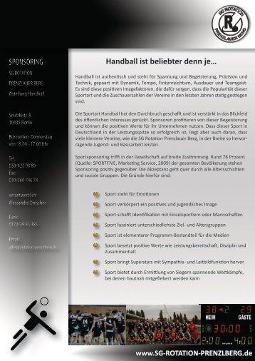 Handball ist beliebter denn je… SPONSORING ... - SG rotation