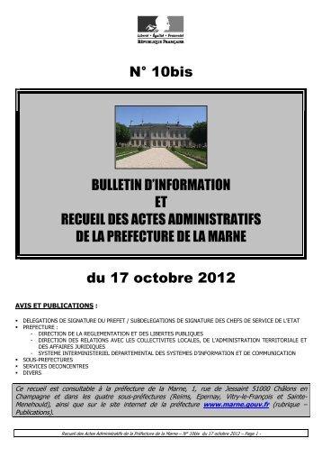 Recueil 10bis-2012 du 17 octobre - 6,39 Mb - Préfecture de la Marne